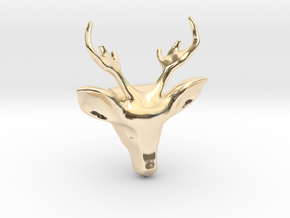 Wild Deer Pendant in 14K Yellow Gold