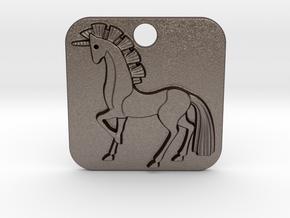 Unicorn Pendant in Polished Bronzed Silver Steel
