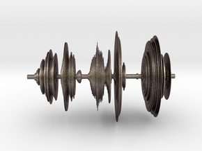 Sound wave in 3D in Polished Bronzed Silver Steel