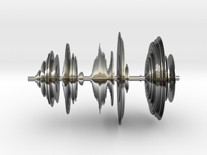 Sound wave in 3D in Fine Detail Polished Silver