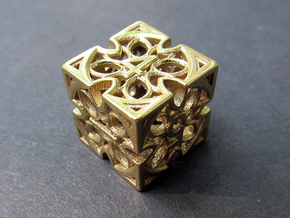 Gothic Rosette Die6 in Polished Brass