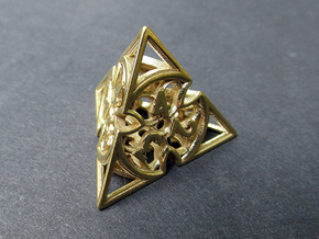 Gothic Rosette d4 in Polished Brass