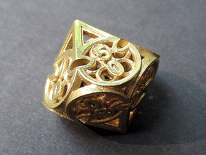 Gothic Rosette d10 Decader in Natural Brass