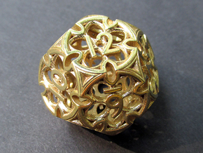 Gothic Rosette d12 in Natural Brass