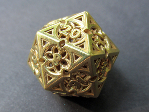 Gothic Rosette d20 in Polished Brass