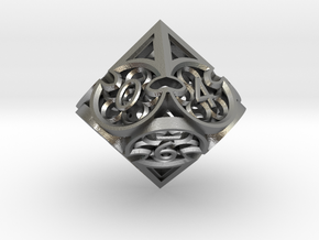 Gothic Rosette d10 in Natural Silver
