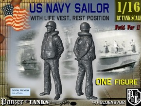 1/16 US Navy Sailor Lifevest Rest in White Natural Versatile Plastic