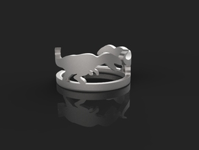Tyrannosaurus silver ring(free size) in Natural Silver