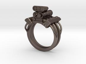 V8 Engine Ring in Polished Bronzed Silver Steel