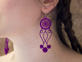Lotus Dream Catcher Earrings in Purple Processed Versatile Plastic