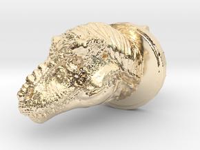 Trex Head2 Cufflink in 14k Gold Plated Brass