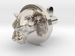 Smilodon Head Cufflink in Platinum