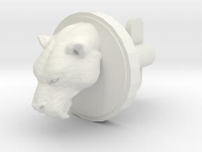 Smilodon Head Cufflink in White Natural Versatile Plastic