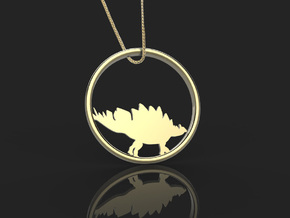 Stegosaurus necklace Pendant in 14k Gold Plated Brass
