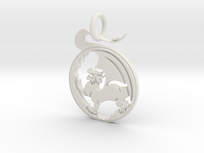 Dragon  Pendant and Keychain in White Natural Versatile Plastic