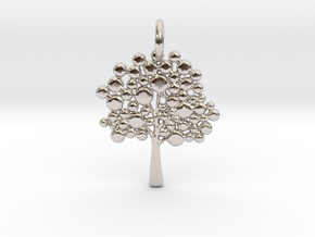 Tree Pendant in Rhodium Plated Brass