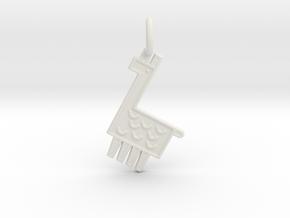 Llama Pendant in White Natural Versatile Plastic