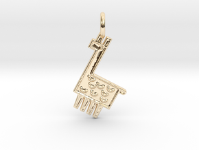 Llama Pendant in 14k Gold Plated Brass
