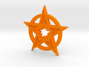 Keychain Star in Orange Processed Versatile Plastic
