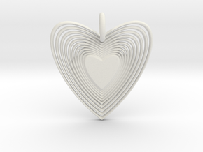 Pendant of Heart (No.2) in White Natural Versatile Plastic