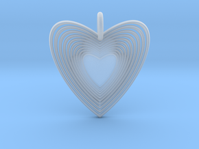 Pendant of Heart (No.2) in Smooth Fine Detail Plastic