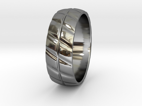 Grooved Mens' Ring in Premium Silver