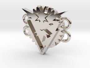 Pokemon Go Team Instinct Bracelet Medallion in Rhodium Plated Brass