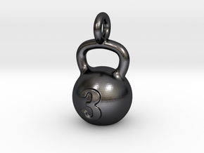 Kettlebell Tiny Tiny Little Earring in Polished and Bronzed Black Steel