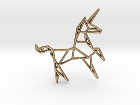 Unicorn Pendant in Polished Gold Steel