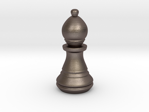 Chess Set Bishop in Polished Bronzed Silver Steel