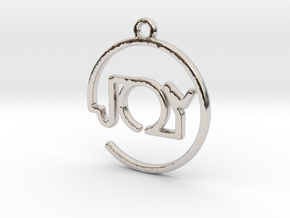 JOY First Name Pendant in Rhodium Plated
