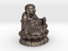 Buddha Sculpture in Polished Bronzed Silver Steel