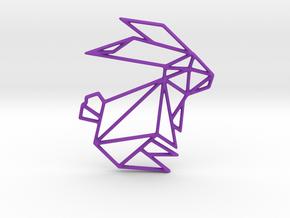 Origami Rabbit in Purple Processed Versatile Plastic