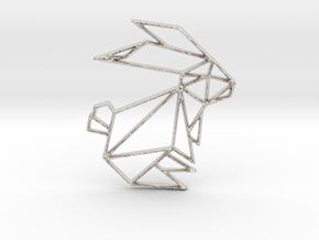Origami Rabbit in Rhodium Plated Brass