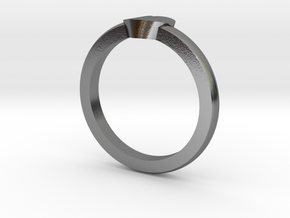 Heart Mid Finger Ring in Polished Silver