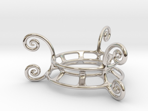 Ornament Egg Stand in Rhodium Plated Brass