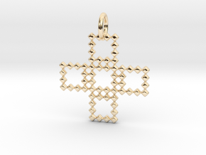 Square Pendant No.3  in 14k Gold Plated Brass