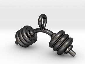 Dumbbell Bent Tiny Little Earring in Polished and Bronzed Black Steel