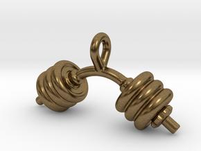 Dumbbell Bent Tiny Little Earring in Natural Bronze