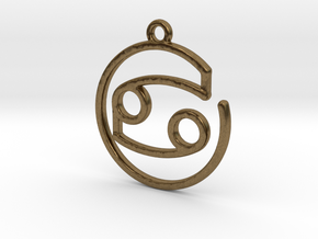 Cancer Zodiac Pendant in Natural Bronze