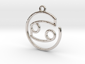 Cancer Zodiac Pendant in Rhodium Plated Brass