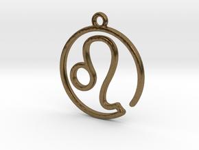 Leo Zodiac Pendant in Natural Bronze