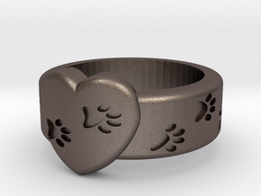 Pawprints On My Heart Ring in Polished Bronzed Silver Steel