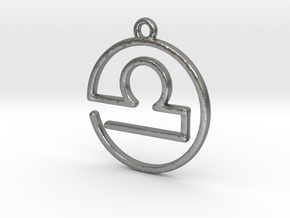 Libra Zodiac Pendant in Natural Silver