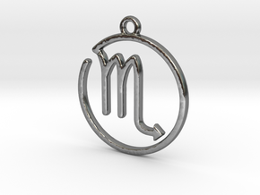 Scorpio Zodiac Pendant in Polished Silver