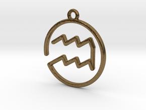 Aquarius Zodiac Pendant in Natural Bronze