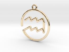 Aquarius Zodiac Pendant in 14K Yellow Gold