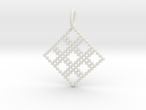 Pendant Square No.4 in White Natural Versatile Plastic