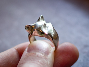 Fox Ring in Polished Nickel Steel: 7 / 54