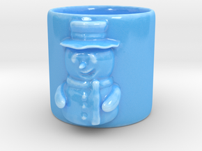 Snow man Coffee Mug in Gloss Blue Porcelain